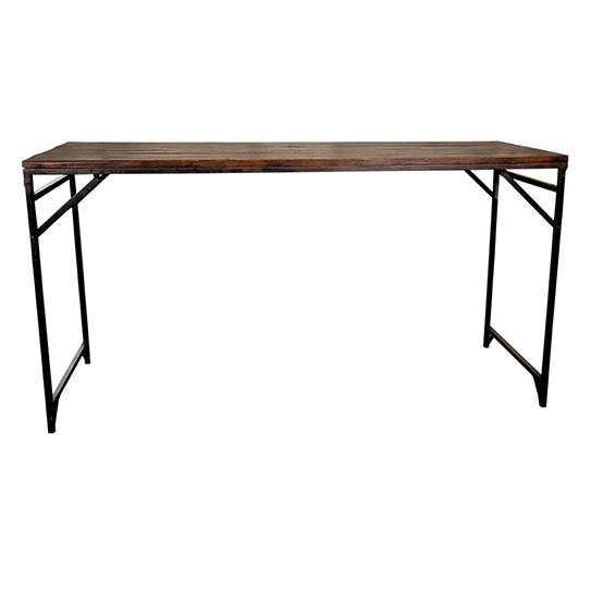 Ett unikum till bord. Ett barbord i vintage teak. Höjden är 102 och längden 213.Benen är av järn och är hoppfällbara.