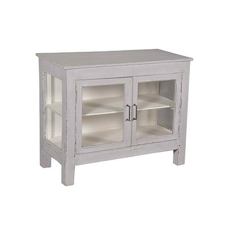 Perfekt sideboard för det mindre utrymmet i recycled teak. Färgen är antikgrå på utsidan och vit på insidan.