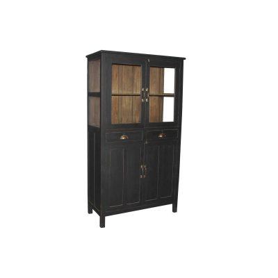 Lupidus vintage är ett perfekt köksskåp i teak målad i svart och med natur insida. Skåpet har 2 glasdörrar