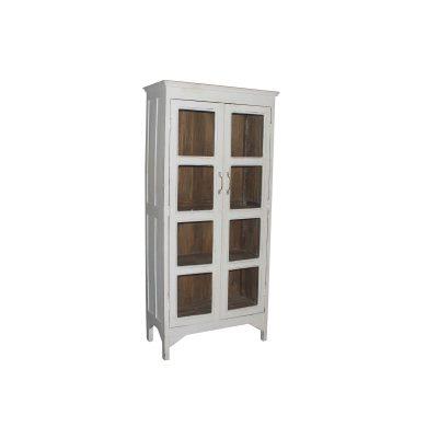 Achillea vintage är ett fint vitrinskåp med som renoverats och har fått en vit utsida och natur insida. Glasdörrar och handtag i mässing. Storleken är 85*40*181